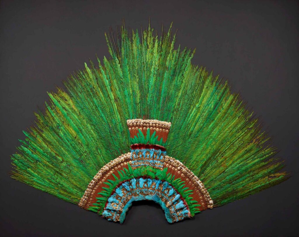 Quetzal-feather headdress housed in Vienna.